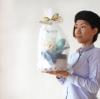 【出産祝い、100日祝い】カスミ草ミニバンチ付き Welcome Boy おむつケーキ【送料込み】