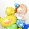 【出産祝い】☆お名前入り ベイビーダック ハグ&キス ブルー【送料込み】