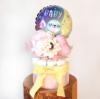 【出産祝い、100日祝い】ミニバンチ付き ベイビースロース おむつケーキ ピンク【送料込み】