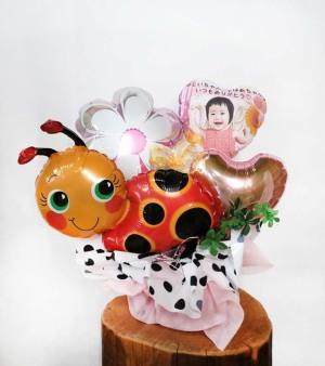 【長寿のお祝い、敬老の日】<br>★写真プリントバルーン入り 幸せのてんとう虫アレンジ(卓上タイプ)【送料込み】