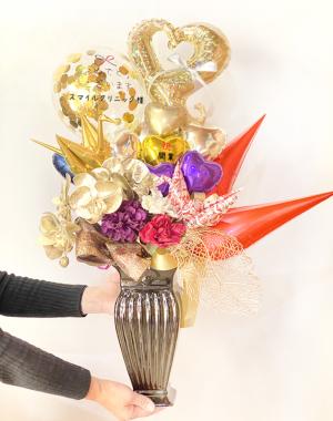 開院・開業・上場祝い】★企業名入り 折鶴のお祝いバルーンアレンジ(卓上タイプ)