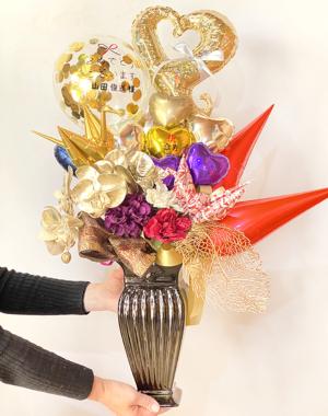 【長寿のお祝い、敬老の日】★お名前入り 傘寿のお祝いバルーンアレンジ(卓上タイプ)