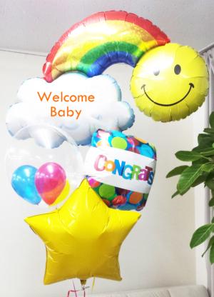 【出産祝い、100日祝い】ぷかぷかバルーンブーケ〈補充用ガス缶1本プレゼント〉