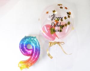 誕生日プレゼントバルーン】★お名前入り ★数字が選べる ★カラーが選べる きらきらバルーン 37cmサイ