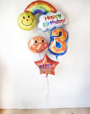 【誕生日バルーン】★お名前入り 選べる数字バルーン アンパンマンがお祝い レインボーに願いを込めてバースデーバルーン ミニ