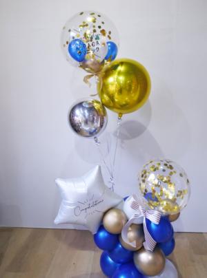 【開院・開園・周年祝い】★店名入りインパクトがありお洒落なバルーンギフト「寿 ブルーゴールド」