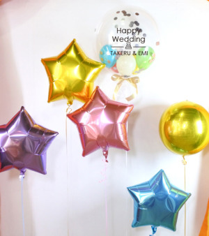 【結婚祝い・ウェルカムボードに】★お名前入り ★文字デザインが選べる パステルカラーのきらきらバルーン6個セット